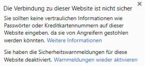 Die Verbindung zu dieser Webseite ist nicht sicher
