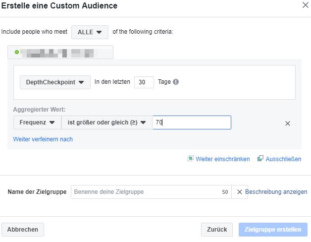 Neue Audience innerhalb der custom audience bei Facebook erstellen