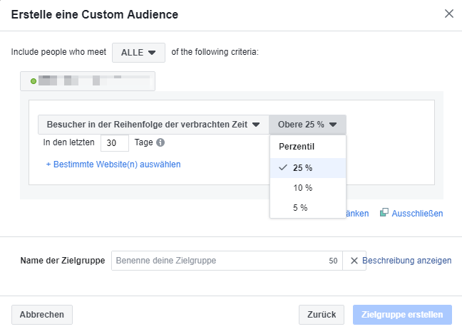 Verbrachte Zeit der Custom Audience einstellen bei Facebook Marketing