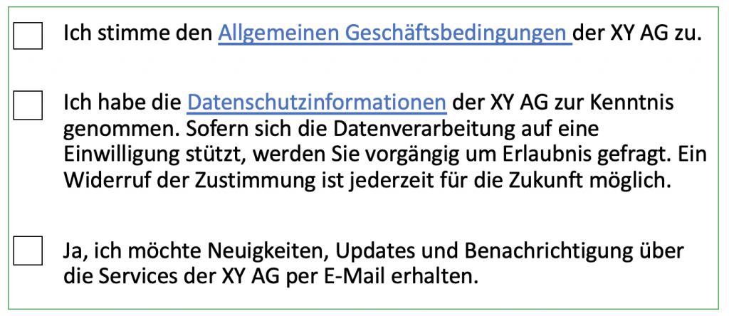 AGB, Datenschutz und Newsletter getrennt