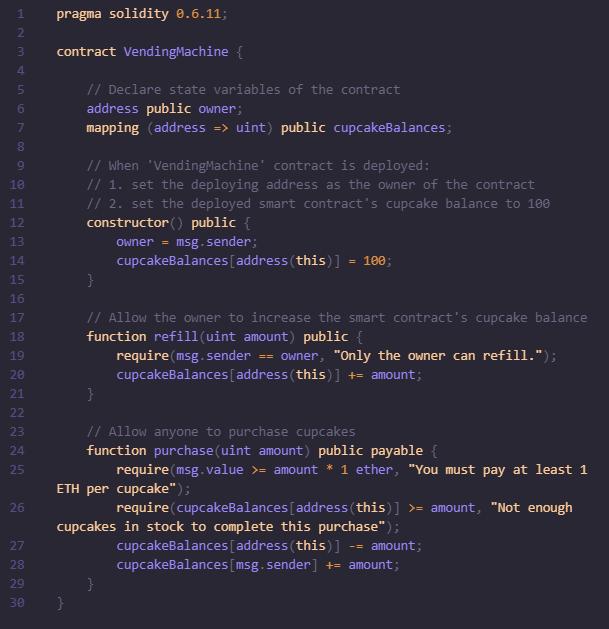 Пример умного контракта - код торгового автомата на основе