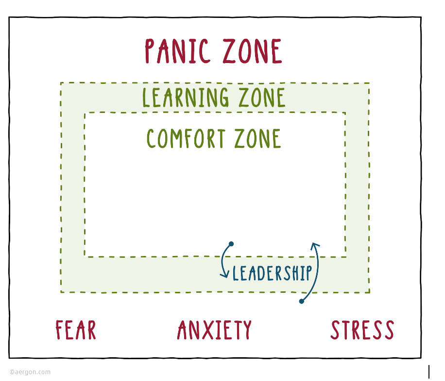 Comfort zone, learning zone and panic zone