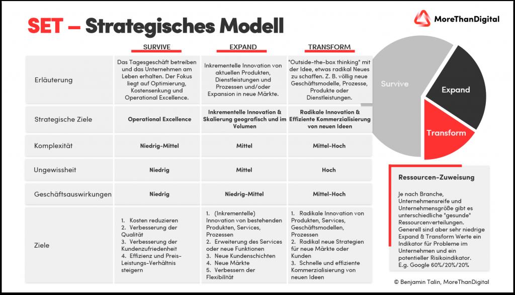 SET Modell für die strategische Allokation von Ressourcen im Unternehmen